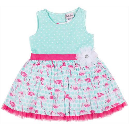 70ab987f3c Little Lass Little Girls Flamingo Dot Dress   Bealls Florida