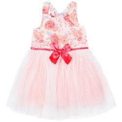 Little Lass Little Girls Floral Tulle Dress