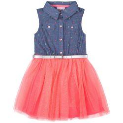 Little Lass Little Girls Swiss Dot Chambray Top Tulle Dress