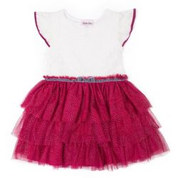 Little Lass Little Girls Floral Lace Tiered Tulle Dress