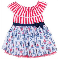 Little Lass Little Girls USA Sailboat Dress