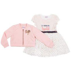 Little Lass Little Girls Follow Your Heart Dress Jacket Set