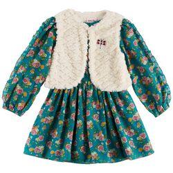 Little Lass Little Girls Floral Dress Vest Set