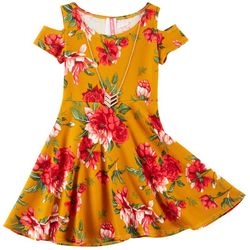 Cute 4 U Little Girls Floral Textured Cold Shoulder Dress