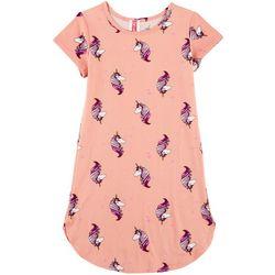 Cute 4 U Little Girls Unicorn T-Shirt Dress