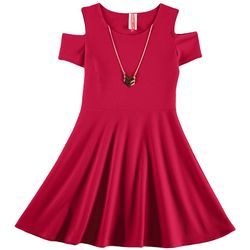 Cute 4 U Big Girls Solid Textured Cold Shoulder Dress