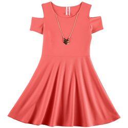 Cute 4 U Big Girls Solid Textured Cold Shoulder Dress