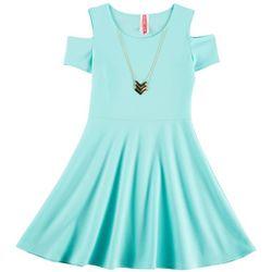 Cute 4 U Little Girls Solid Textured Cold Shoulder Dress