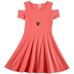 cac82cabcd00 Cute 4 U Little Girls Solid Textured Cold Shoulder Dress