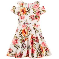 Cute 4 U Little Girls Floral Cold Shoulder Dress