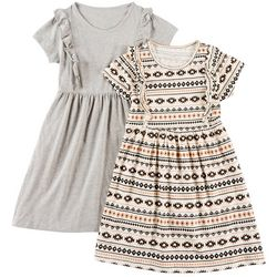 Freestyle Little Girls 2-pk. Heathered and Tribal Dresses