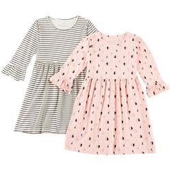 Freestyle Big Girls 2-pk. Heart Print and Striped Dresses