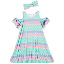 Freestyle Little Girls Mermaid Scales Cold Shoulder Dress