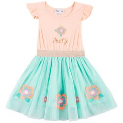 Freestyle Little Girls Floral Embroidered Dress