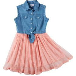 Freestyle Big Girls Chambray Tutu Sleeveless Dress