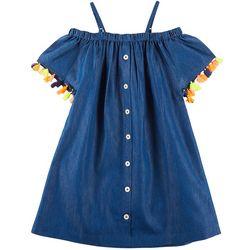 Freestyle Big Girls Tassel Trim Chambray Cold Shoulder Dress