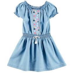 Freestyle Little Girls Floral Embroidered Chambray Dress