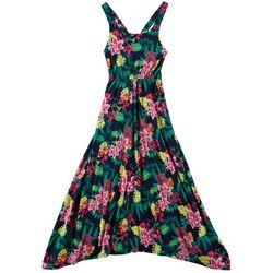 Derek Heart Girl Big Girls Tropical Floral Print Maxi Dress