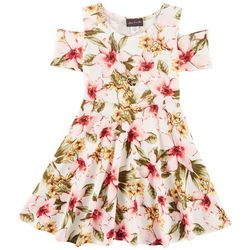 Miss You More Big Girls Floral Cold Shoulder Dress