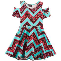 Miss You More Big Girls Chevron Cold Shoulder Dress