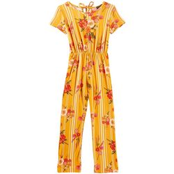 Miss You More Big Girls Striped Floral Jumpsuit