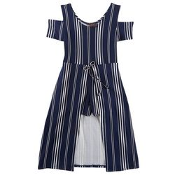 Miss You More Big Girls Striped Walk Through Romper