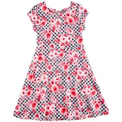 Penelope Mack Big Girls Floral & Plaid Print Dress
