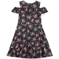 Penelope Mack Big Girls Floral Ruffle Cold Shoulder Dress