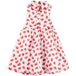 Penelope Mack Little Girls Strawberry Print Sleeveless Dress