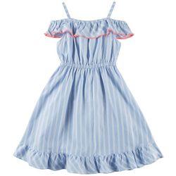 Penelope Mack Big Girls Striped Cold Shoulder Abby Dress
