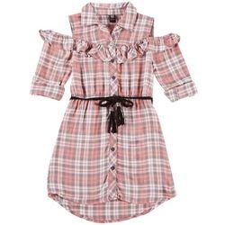 Star Ride Little Girls Plaid Button Down Cold Shoulder Dress