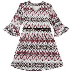 Star Ride Little Girls Chevron Bell Sleeve Dress