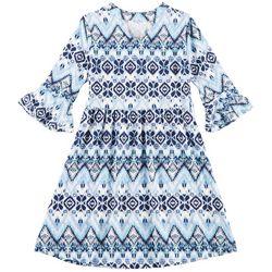 Star Ride Little Girls Mixed Chevron Bell Sleeve Dress