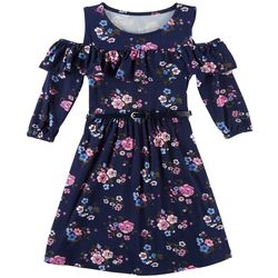 Star Ride Little Girls Floral Belted Cold Shoulder Dress