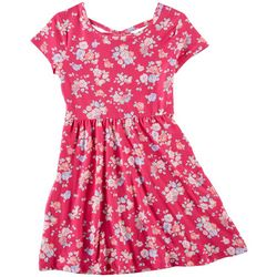 Green Soda Little Girls Floral Print Cap Sleeve Dress