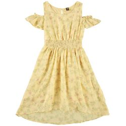 Wallflower Big Girls Butterfly Print Cold Shoulder Dress