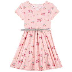 Star Ride Little Girls Floral Print Sparkle Belted Dress