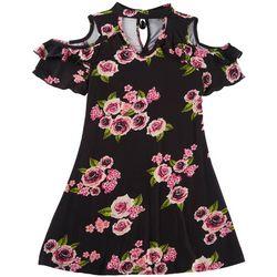 RMLA Big Girls Floral Cold Shoulder Dress