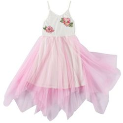 RMLA Little Girls Embroidered Roses Tulle Overlay Dress