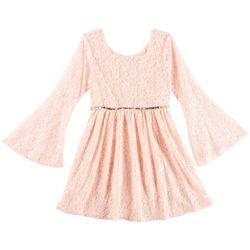RMLA Little Girls Floral Lace Bell Sleeve Dress