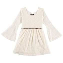 RMLA Big Girls Floral Lace Bell Sleeve Dress