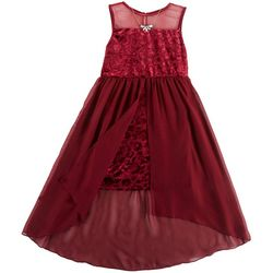 RMLA Big Girls Floral Velvet Walkthrough Dress