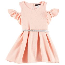 RMLA Big Girls Foil Sparkle Cold Shoulder Dress