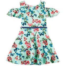 RMLA Big Girls Butterfly Floral Cold Shoulder Dress