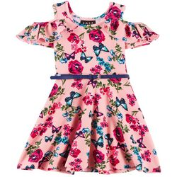 RMLA Big Girls Butterfly Floral Cold Shoulder Dress