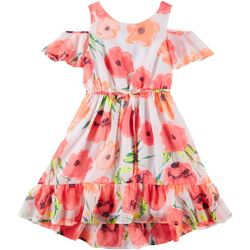 RMLA Big Girls Floral Print Cold Shoulder Dress