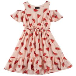 RMLA Big Girls Watermelon Print Cold Shoulder Dress