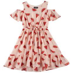 RMLA Little Girls Watermelon Print Cold Shoulder Dress