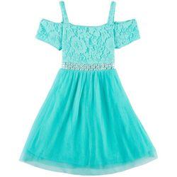 RMLA Big Girls Floral Lace Jewel Waist Cold Shoulder Dress