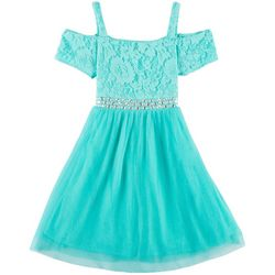 RMLA Big Girls Floral Lace Jewel Waist Cold Shoulder Dress